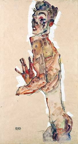 tableaux-de-personnages - Tableau -Self-Portrait with Splayed Fingers- - Schiele, Egon