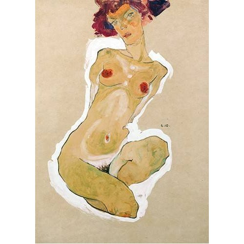 Tableau -Squatting Female Nude-