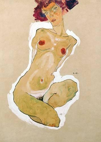 tableaux-de-personnages - Tableau -Squatting Female Nude- - Schiele, Egon