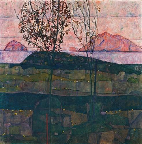 tableaux-de-paysages - Tableau -Setting Sun, 1913- - Schiele, Egon