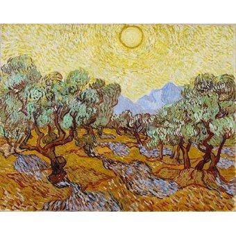 Tableau -Oliviers avec ciel jaune et soleil-