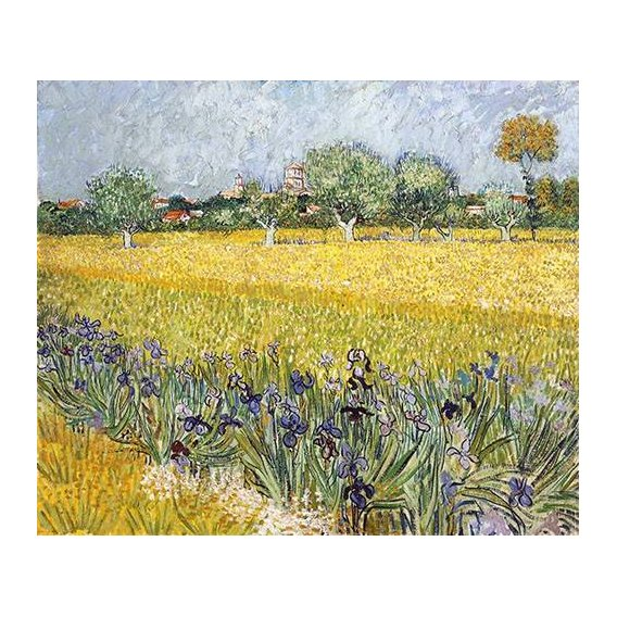 pinturas de paisagens - Quadro -Field with flowers near Arles, 1888-