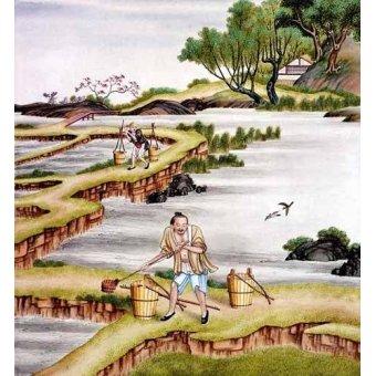 Tableaux orientales - Tableau -Campesinos transportando agua- - _Anónimo Chino