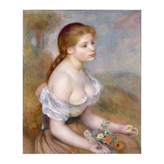 pinturas do retrato - Quadro -Jovencita con margaritas-