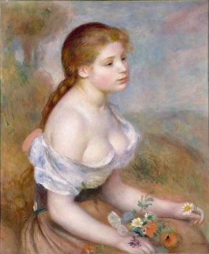 tableaux-de-personnages - Tableau -Jeune avec des marguerites- - Renoir, Pierre Auguste