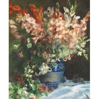 Tableaux de Fleurs - Tableau -Glaïeuls dans un vase- - Renoir, Pierre Auguste