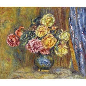 Tableau -Roses et rideau bleu-