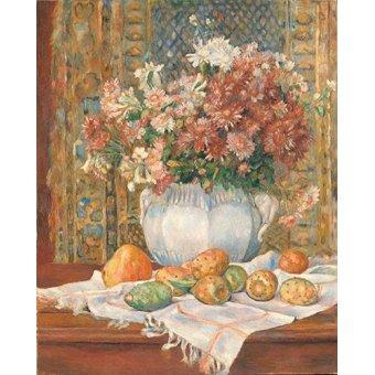 Tableaux nature morte - Tableau -Nature morte avec fleurs et poires, 1885- - Renoir, Pierre Auguste