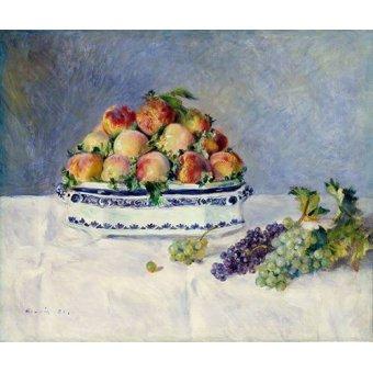 Tableaux nature morte - Tableau -Nature morte avec pêches et raisins, 1881- - Renoir, Pierre Auguste