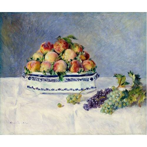 naturezas mortas - Quadro -Still Life with Peaches and Grapes, 1881-