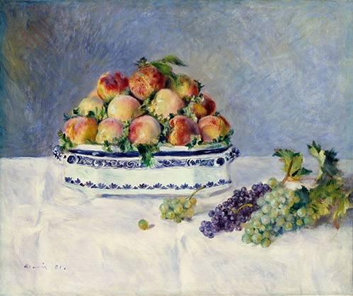 tableaux-nature-morte - Tableau -Nature morte avec pêches et raisins, 1881- - Renoir, Pierre Auguste