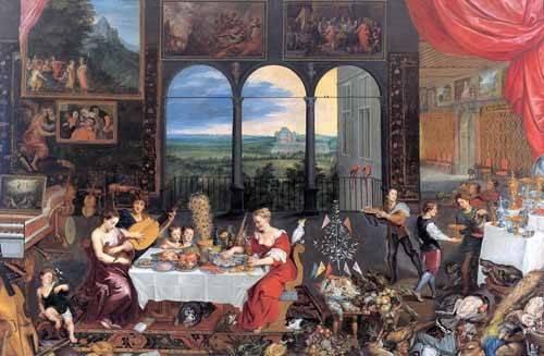 tableaux-de-personnages - Tableau -El gusto, el oido y el tacto- - Bruegel