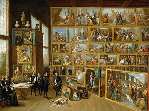 tableaux-de-personnages - Tableau -Archiduque Leopold William en su Galeria, Bruselas- - Teniers, David