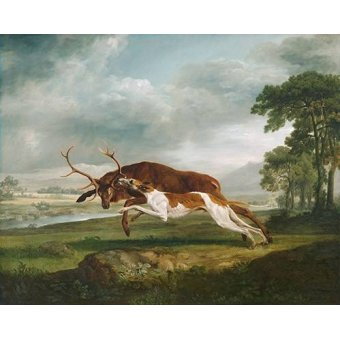 Tableaux de faune - Tableau -Hound Coursing a Stag- (caza) - Stubbs, George
