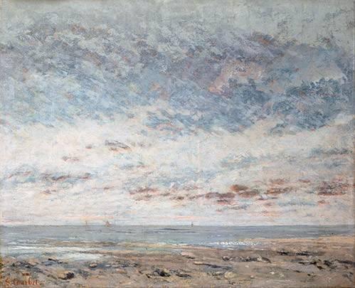 tableaux-de-paysages-marins - Tableau -Marea baja en Trouville, 1865- - Courbet, Gustave