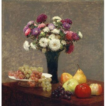 Tableaux nature morte - Tableau -Asters and Fruit on a Table- - Fantin Latour, Henri