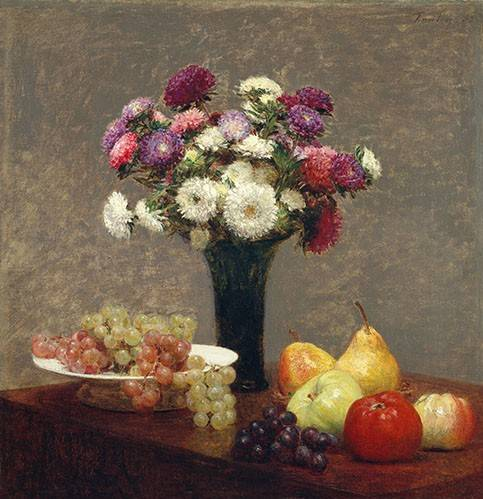 tableaux-nature-morte - Tableau -Asters and Fruit on a Table- - Fantin Latour, Henri