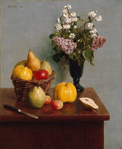 tableaux-nature-morte - Tableau -Still Life with Flowers and Fruit- - Fantin Latour, Henri