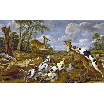 Tableaux de faune - Tableau -Cazeria de corzos (Caza)- - Paul de Vos