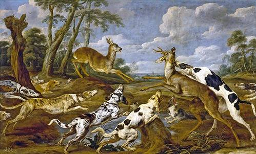 tableaux-de-faune - Tableau -Cazeria de corzos (Caza)- - Paul de Vos