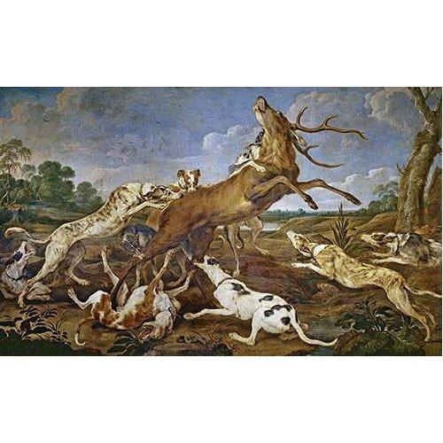 Tableau -Ciervo acosado por una jauría de perros (Caza)-
