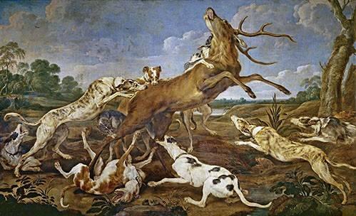 tableaux-de-faune - Tableau -Ciervo acosado por una jauría de perros (Caza)- - Paul de Vos