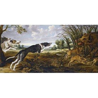 Tableaux de faune - Tableau -Cazeria de jabalies (Caza)- - Paul de Vos