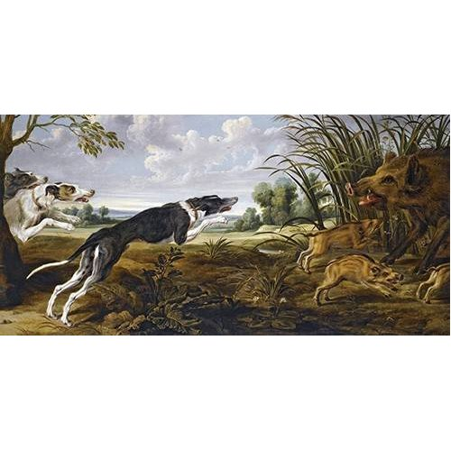 fotos de fauna - Quadro -Cazeria de jabalies (Caza)-