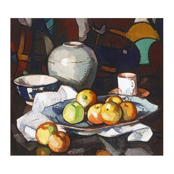 naturezas mortas - Quadro -Still life apples and jar-