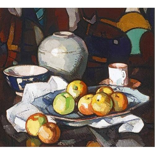 Tableau -Still life apples and jar-
