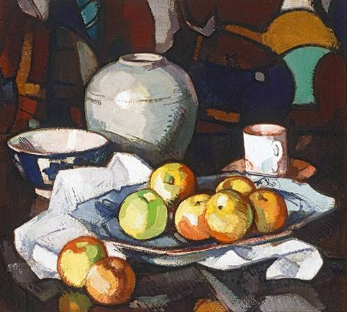 tableaux-nature-morte - Tableau -Still life apples and jar- - Peploe, Samuel