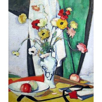 Tableaux nature morte - Tableau -Still life with flowers fruit and fan- - Peplow, Samuel