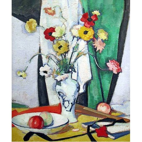 Tableau -Still life with flowers fruit and fan-