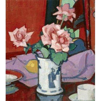 Tableaux de Fleurs - Tableau -Pink Roses, Chinese Vase- - Peploe, Samuel