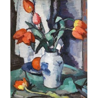 Tableaux de Fleurs - Tableau -Orange tulips, Chinese Vase- - Peploe, Samuel