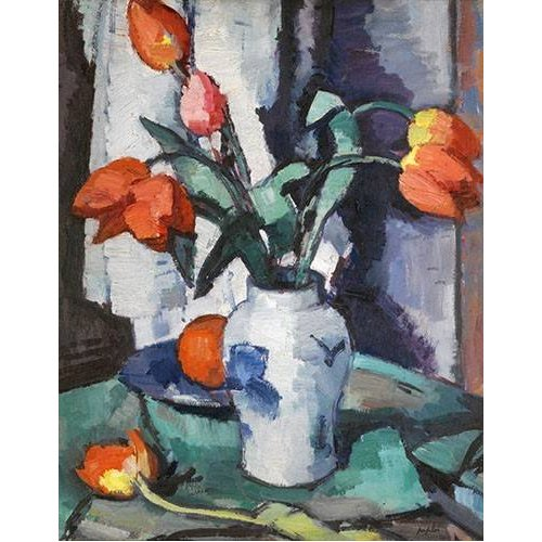 Tableau -Orange tulips, Chinese Vase-