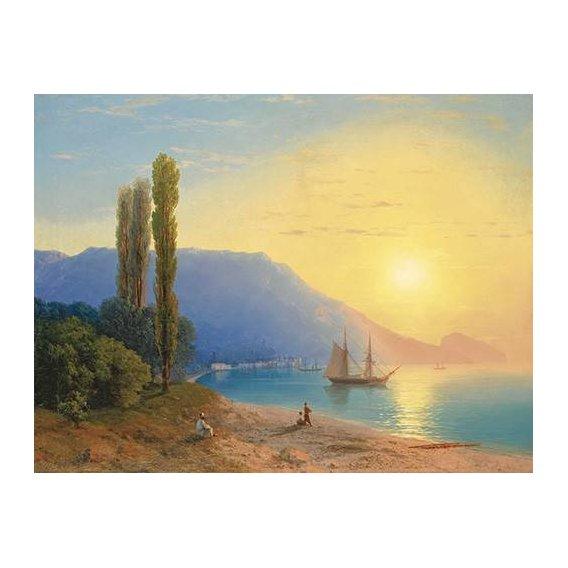 pinturas de paisagens marinhas - Quadro -Atardecer sobre Yalta-