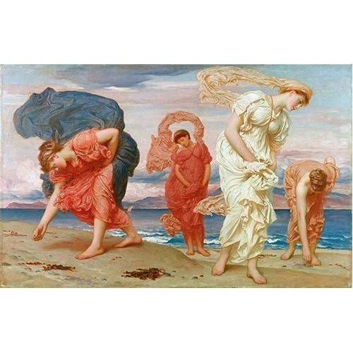 Tableau -Jovenes griegas recogiendo guijarros al borde del mar-
