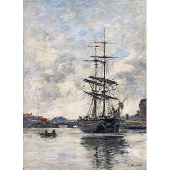 Tableaux de paysages marins - Tableau -Ship on the Touques, 1888- - Boudin, Eugene