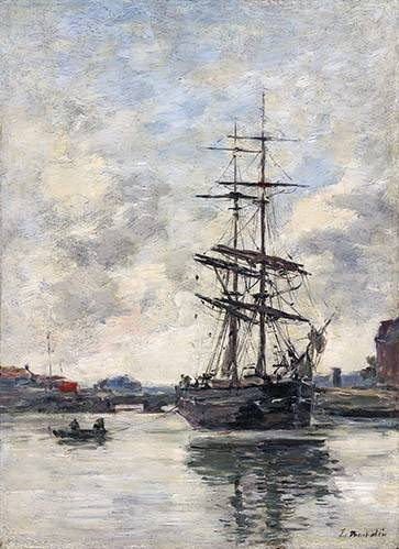 tableaux-de-paysages-marins - Tableau -Ship on the Touques, 1888- - Boudin, Eugene