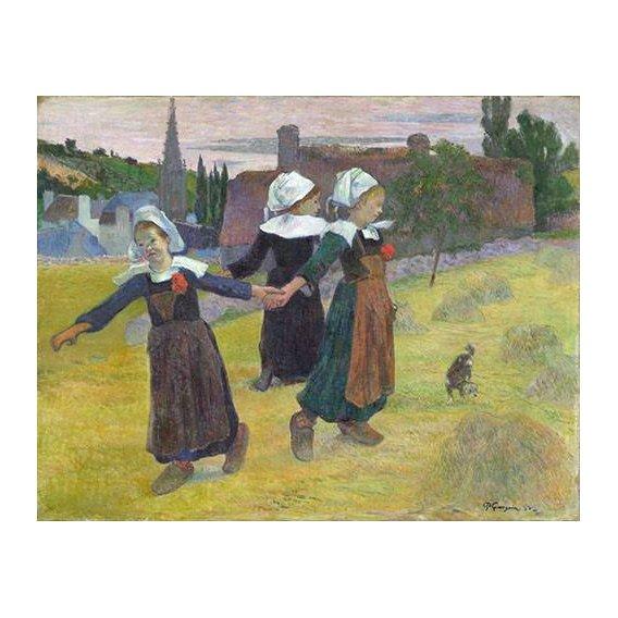 pinturas do retrato - Quadro -Breton Girls Dancing, Pont-Aven-