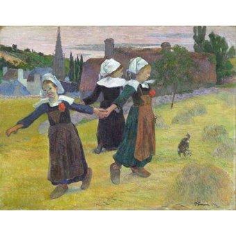 Tableaux de Personnages - Tableau -Breton Girls Dancing, Pont-Aven- - Gauguin, Paul