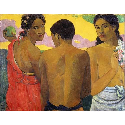 pinturas do retrato - Quadro -Tres Tahitianos-