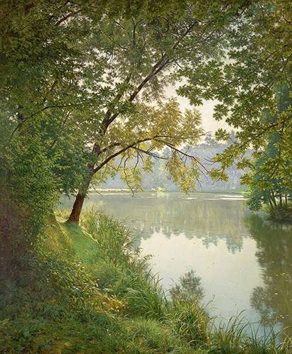 tableaux-de-paysages - Tableau -Matin à Villeneuve- - Biva, Henri