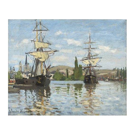 pinturas de paisagens marinhas - Quadro -Ships Riding on the Seine at Rouen, 1872-