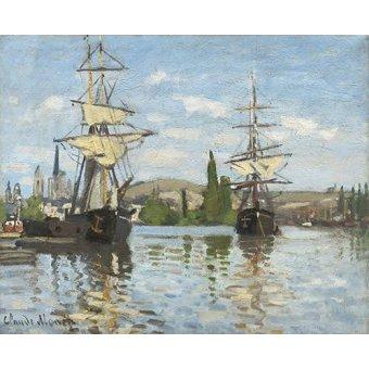 Tableaux de paysages marins - Tableau -Navires à cheval sur la Seine à Rouen, 1872- - Monet, Claude