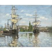 Tableau -Navires à cheval sur la Seine à Rouen, 1872-