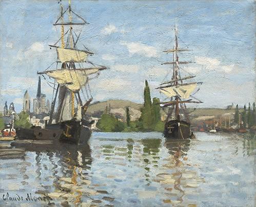 tableaux-de-paysages-marins - Tableau -Navires à cheval sur la Seine à Rouen, 1872- - Monet, Claude