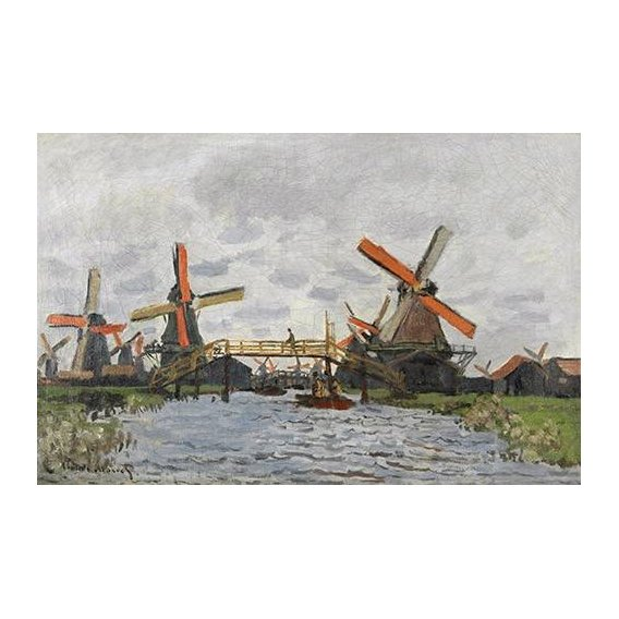 pinturas de paisagens - Quadro -Windmills near Zaandam, 1871-