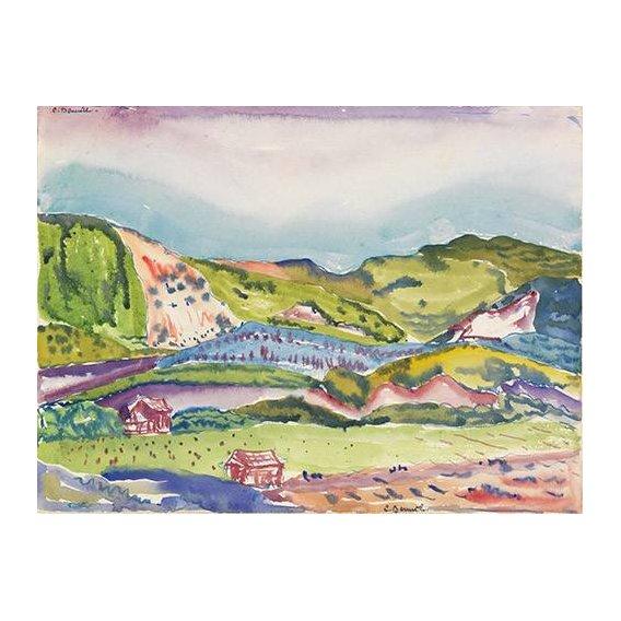 pinturas modernas - Quadro -Mountain with Red House-